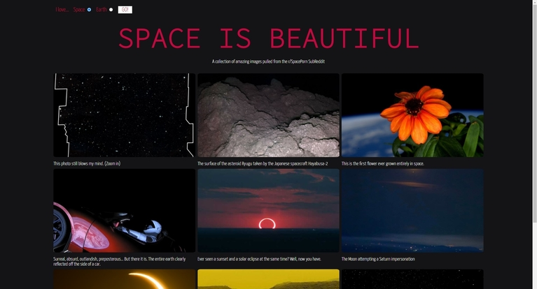 An preview image of the homepage 'Space is beautiful'